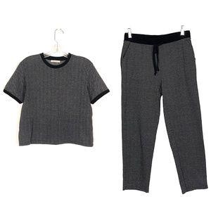 Zara Herringbone Knit Crop Sweater Jogger Set M